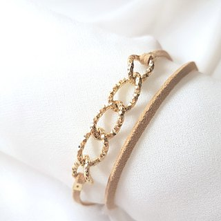 Embossed metal chain suede rope double ring thin ring (two colors)
