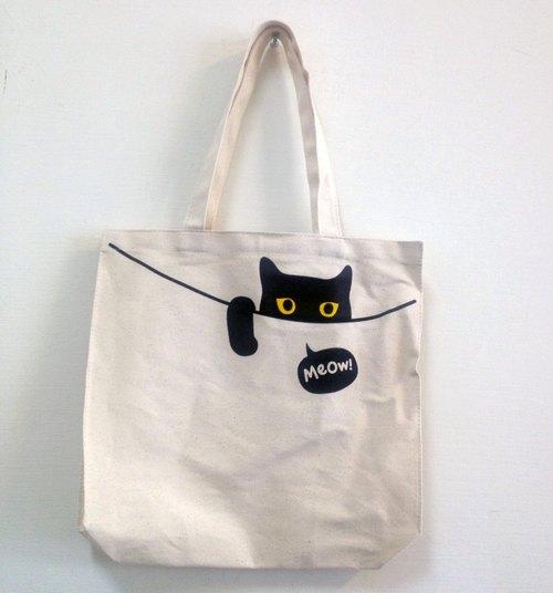 Peeping Cat Tote Bag