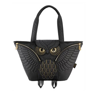 Morn Creations Genuine Fashion Golden Owl Tote Bag can be used as a mother bag - Black 481-BK