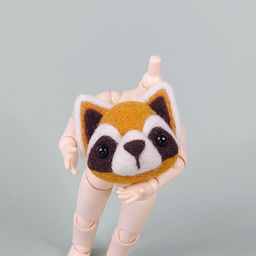 <Wool felt> Raccoon (M Size) #necklace with adjustable string #keychain #brooch #hair tie by WhizzzPace