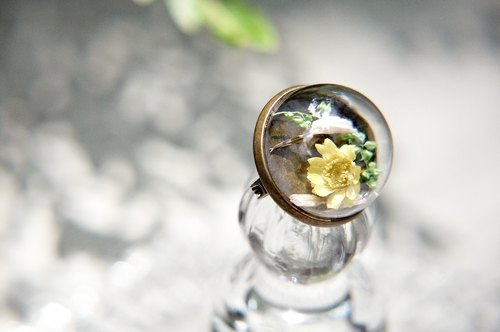 / Forest Department / French glass dried flower brooch pin - yellow flowers