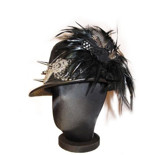 Black Solders Batch Brown Feathers Gentleman Hat