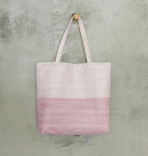 European lady star Shu cotton duplex angular light brown shopping bag pink +