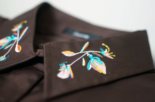 humming- Embroidered Shirts    embroidery collar  /  Brown