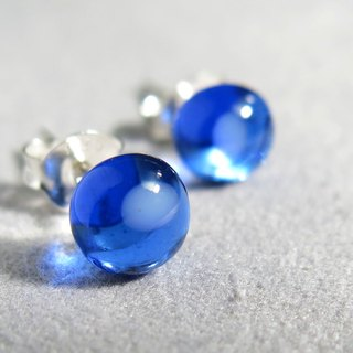 Glass sterling silver earrings / transparent dark blue (ear, ear clip)