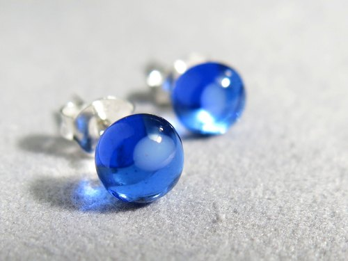 Yang glass sterling silver earrings / transparent blue (ear acupuncture, ear clip)