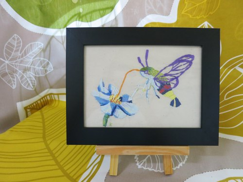 Embroidery frames / small moth say hello