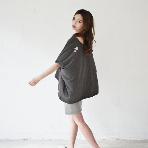 ◆ SUMI PLUS + hand-made series of asymmetric sleeve shirt flying squirrel _ love dark gray on the shoulders ◆ 3SF071_