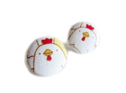 Cloth buckle earrings clip earrings cute chick do