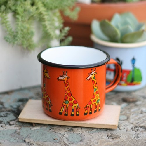 Smaltum Prague enamel cup pro microphone giraffe _ orange (350ml) <FDN000164>