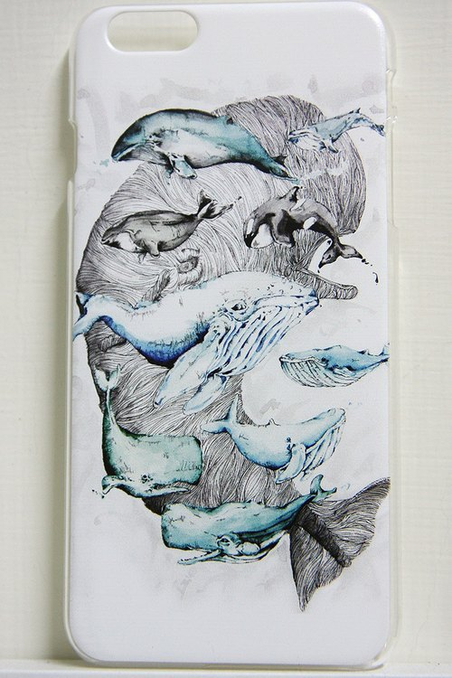 iPhone5 / 5s / 6/6 + Phone Case - lots and lots of whales