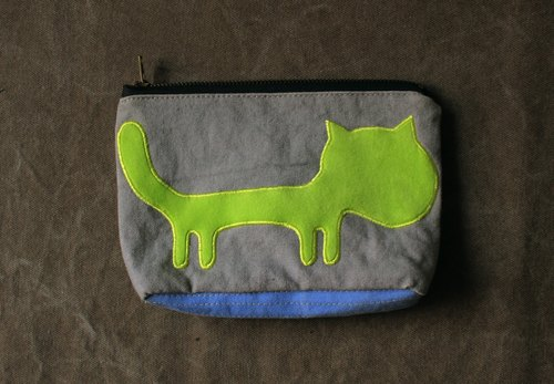 [Cloth embrace the dream zoo] green cat cosmetic bag [cat Purse] canvas bag