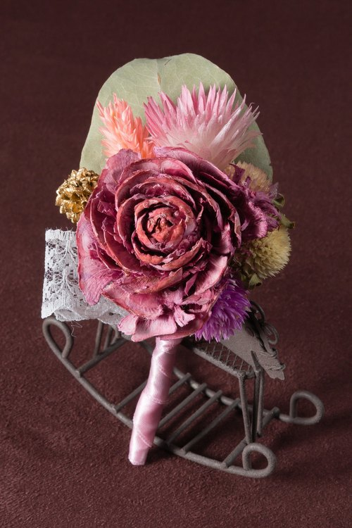 Kinki large mahogany hand-made dried flower corsage Rose does not wither and groom boutonniere corsage groomsmen officiate, corsage brooch fashion