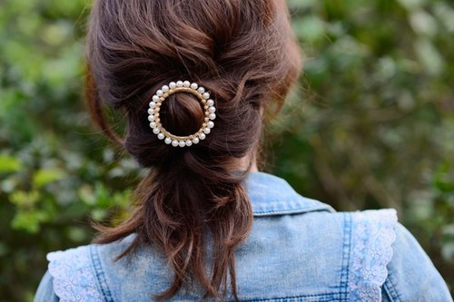 Simple style geometric circle pearl hair accessories / hairpin --- pre-order