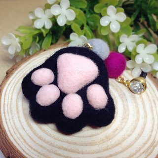 [Cream] wool felt plush fantasy healing system feet sprouting little kitty cat meat ball pads headphone plug dust plug mobile phone strap key ring black kitty cat lovers birthday gift handmade exclusive