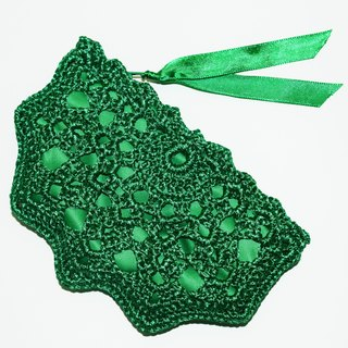 Green Crochet Coin Purse - Emerald Green Small Crochet Purse - Emerald Wallet Purse - Zippered Money Pouch - Green Coin Wallet for Change - Key Storage