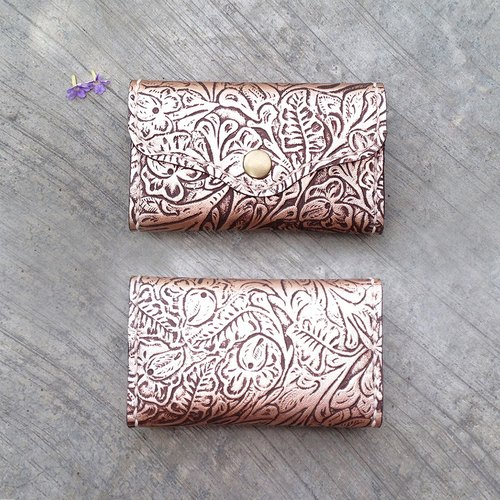 Dual - vegetable tanned leather hand-card holder - retro imitation carving