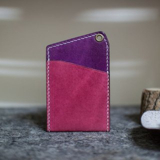 Leather handmade leather play both sides of the color-color sets of documents (without strap) _ purple magenta +