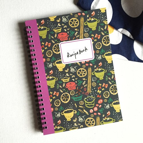 Recipe notebook, recipe book, cooking journal with pasta pattern cover, spiral notebook