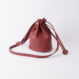 Candy tied small bucket bag portable shoulder dual-use Marsala / wine red