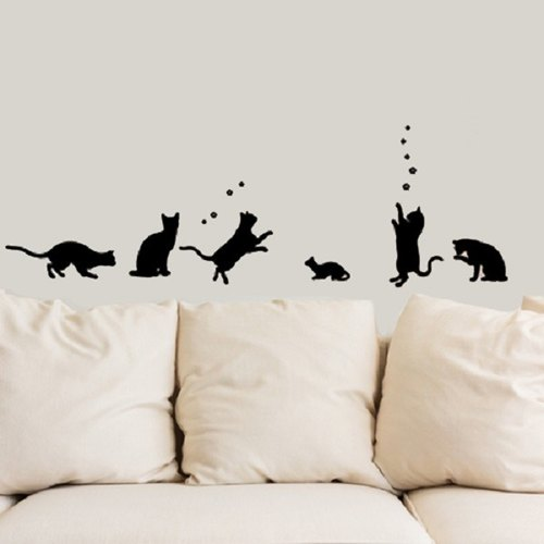 """Smart Design"" Creative Seamless wall stickers happy cat ◆ 8 color options"