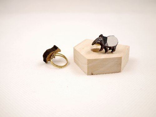 CutFing - Wood Malayan tapir Rings (Adjustable Ring Wai)