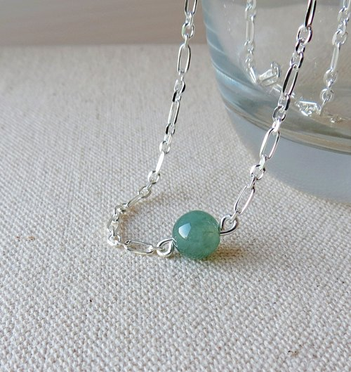 "[Opium poppy ﹝ Love ‧ chain ﹞] Silver *********fashion ""lucky stone"" ice kind of green lake emerald necklace********"