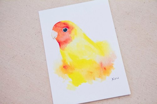 Small yellow parrot painted watercolor style postcards