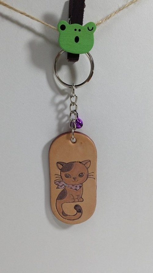 [Momo.mami] cat leather key ring