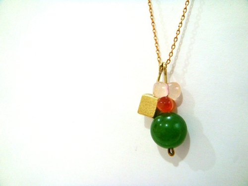 [StUdio] square brass stones necklace
