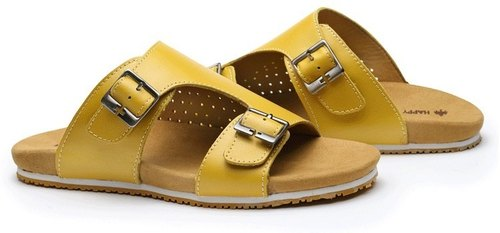Leather casual sandals and slippers yellow (the day of delivery)