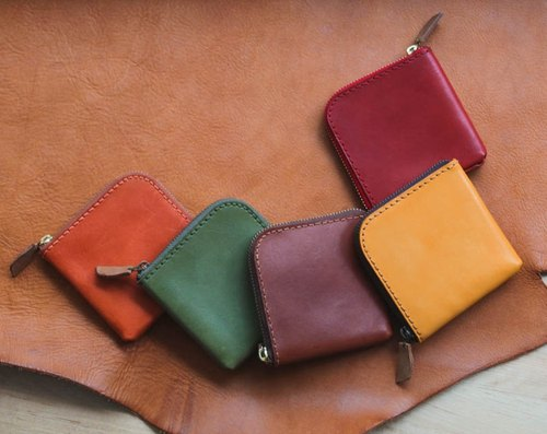 vegetable-tanned cow hide leather coin wallet - Many Colors available
