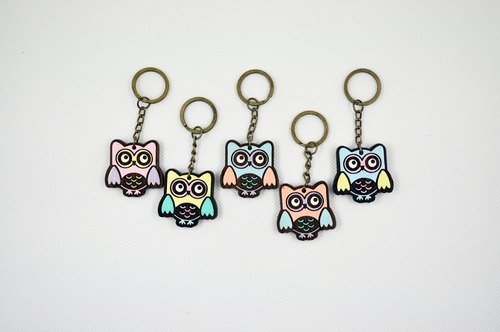 CutFing- wooden series -WOOD big eyes owl keychain Charm