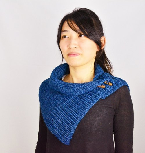 Alpaca wool hand-woven shawl _ blue _ fair trade
