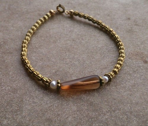 German antique brass amber plastic bracelet