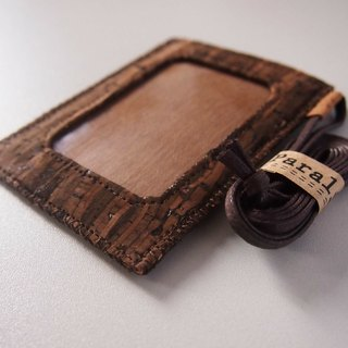 Paralife Custom Handmade Wooden Grain Cork Badge card holder with Lanyard