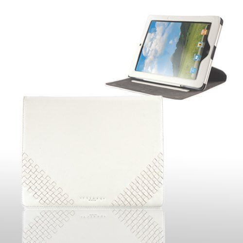 ] [Father's Day gift boutique handmade sheepskin weave -IPAD2 360-degree rotating holster (Classic White)