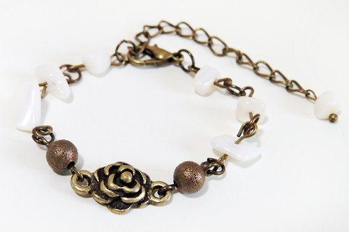 {W} white rose stone natural gravel Rose Bracelet