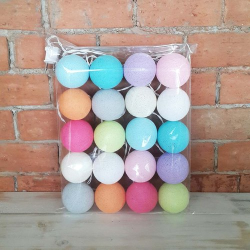 Cotton Balls String Lights :  Pastel