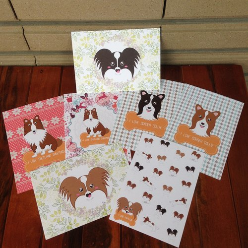 Dog postcard kit (butterfly dog, Shetland, Integrated Border Collie)