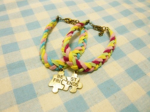 Nadia loves a good hand for ♥ best friends sister Puzzle 4 braided bracelet Limited
