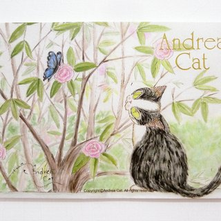 Andrea Cat- Wealthy Street cat to cat postcard - Bruce and the Butterfly