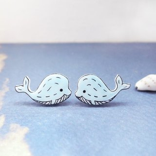 Cute cute blue whale handmade earrings anti-allergic ear pin painless ear clip