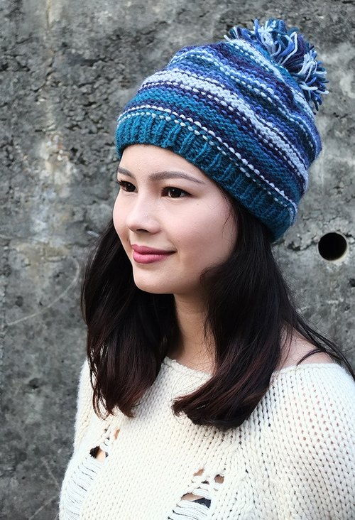 【Grooving the beats】Handmade Hand Knit Wool Beanie Hat with Pompom(Stripe_Blue)
