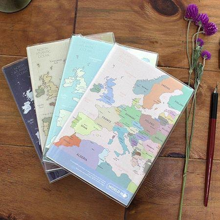 Dessin x Indigo- world map notebook lines - color, IDG03012