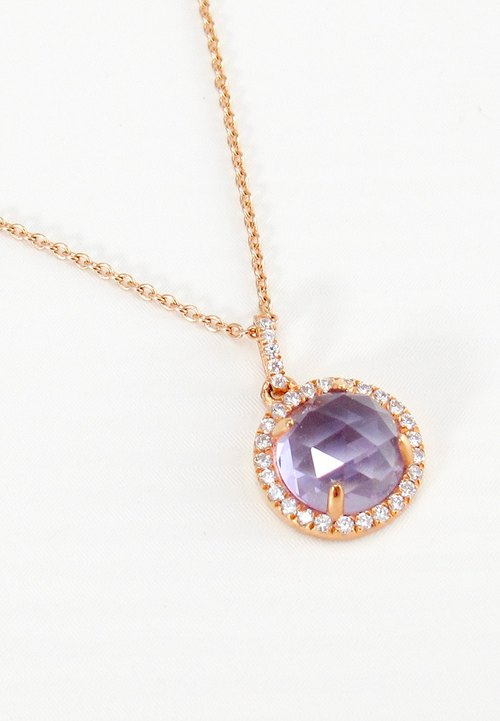 ELEGANT - 9mm Round Checkerboard Amethyst 18K Rose Gold Plated Silver Necklace