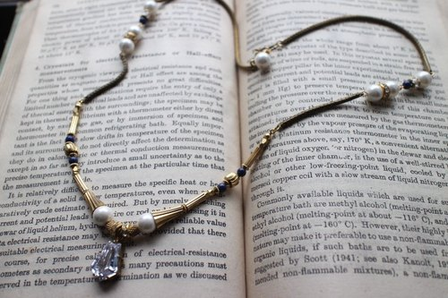 Unmatched ~ CZ / brass / mother of pearl / natural stone in a long chain