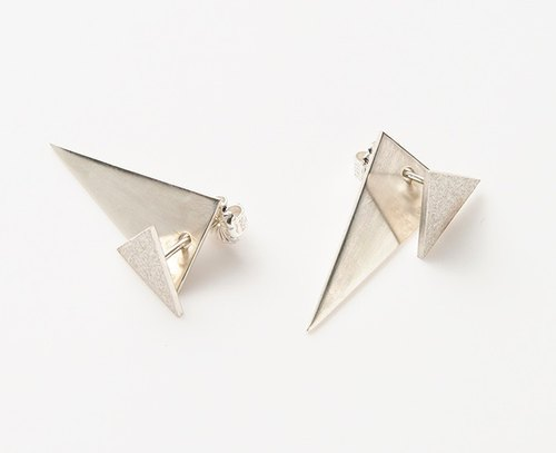 Triangle earrings (mat / 2way)