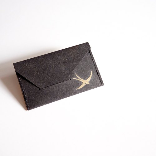 Hand black waterproof kraft paper business card holder, golden bird color pattern