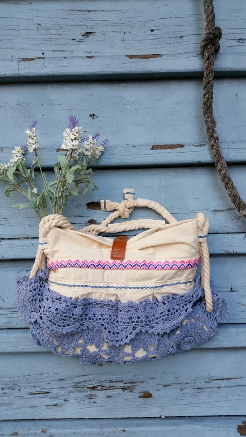 Fresh cotton crochet knit flower leather buckle bag / handbag / shoulder bag / handmade / occupied / gifts / birthday gift